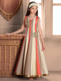 Multicolor Cut Sleeve Ankle Length Flared Banglori Silk Fabric Gown