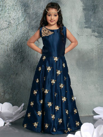 Royal Blue color Cut Sleeve Floor Length Bhagalpuri Silk Fabric Gown