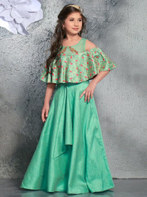 Green color Phantom Silk Fabric Cut Sleeve Floor Length Gown