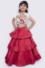 White and Red color Banglori Silk Fabric Lehenga Choli