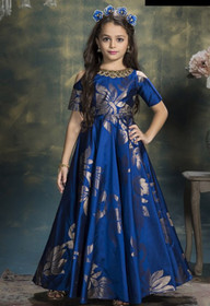 Navy Blue color Floor Length Heavy Taffeta Jacquard Fabric Gown