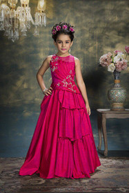 Fuchsia color Cut Sleeve Bridal Silk Fabric Floor Length Gown