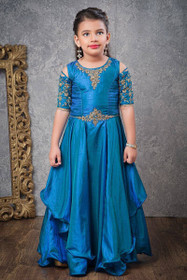 Blue color Floor Length Layered Paper Silk Fabric Cut work Sleeves Design Gown