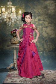 Purplish Magenta color Floor Length Layered Paper Silk Fabric High Neck Design Cut work Sleeves Design Gown