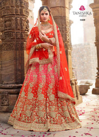 Tomato Red and Pink color Silk Fabric Lehenga Choli