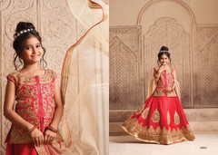 Red color Silk Fabric Kids Wear Lehenga Choli