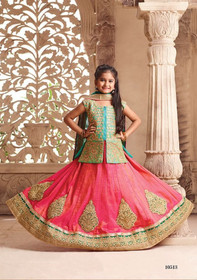 Pink and Green color Silk Fabric Kids Wear Lehenga Choli
