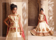 Cream color Silk Fabric Kids Wear Lehenga Choli