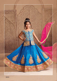 Royal Blue color Silk Fabric Kids Wear Lehenga Choli