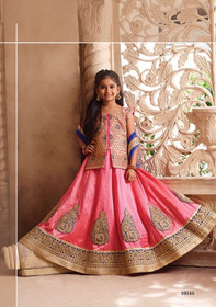 Pink color Silk Fabric Kids Wear Lehenga Choli