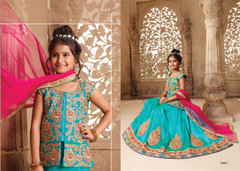Sea Blue color Silk Fabric Kids Wear Lehenga Choli