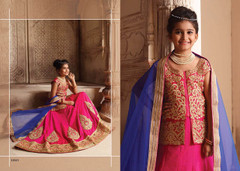 Magenta color Silk Fabric Kids Wear Lehenga Choli
