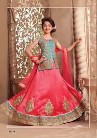 Carrot Red color Silk Fabric Kids Wear Lehenga Choli