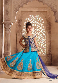 Blue color Silk Fabric Kids Wear Lehenga Choli