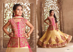 Golden color Silk Fabric Kids Wear Lehenga Choli