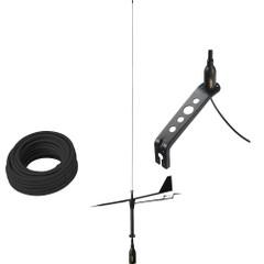 Glomex Black Swan VHF Antenna w\/Wind Indicator  66 Coax Cable [SGV80BWIBK]