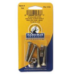 Handi-Man Stainless Steel Phillips Machine Oval Screw 1\/4-20 x 1-1\/2 [703]