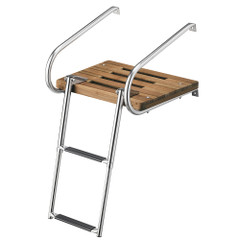 Whitecap Teak Swim Platform w\/2-Step Telescoping Ladder f\/Boats w\/Inboard\/Outboard Motors [68904]