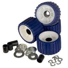 C.E. Smith Ribbed Roller Replacement Kit - 4-Pack - Blue [29320]