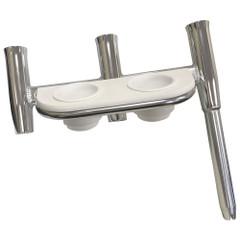 Tigress Offset Triple Rod Holder w\/Cup Holders - Starboard Side - Polished Aluminum [88148]
