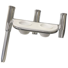 Tigress Offset Triple Rod Holder w\/Cup Holders - Starboard Side - Polished Aluminum [88148-1]
