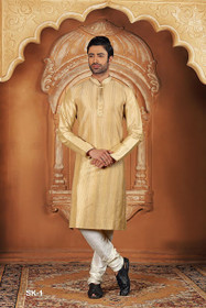 Golden color Full Sleeve Mandarin Collar Neck Design Silk Fabric Kurta Pyjama