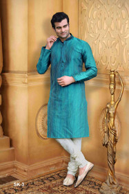 Blue color Full Sleeve Mandarin Collar Neck Design Silk Fabric Kurta Pyjama