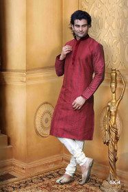 Maroon color Full Sleeve Mandarin Collar Neck Design Silk Fabric Kurta Pyjama