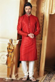 Tomato Red color Full Sleeve Mandarin Collar Neck Design Silk Fabric Kurta Pyjama