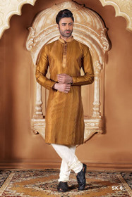 Brown color Full Sleeve Mandarin Collar Neck Design Silk Fabric Kurta Pyjama
