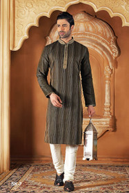 Copper and  Black mix and match color Full Sleeve Mandarin Collar Neck Design Silk Fabric Kurta Pyjama