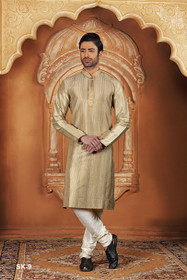 Beige color Full Sleeve Mandarin Collar Neck Design Silk Fabric Kurta Pyjama