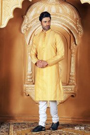 Yellow color Full Sleeve Mandarin Collar Neck Design Silk Fabric Kurta Pyjama