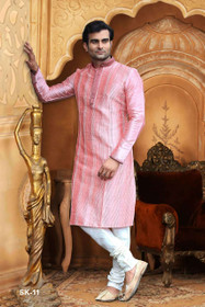 Pink color Full Sleeve Mandarin Collar Neck Design Silk Fabric Kurta Pyjama