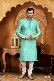 Light Green color Full Sleeve Mandarin Collar Neck Design Silk Fabric Kurta Pyjama
