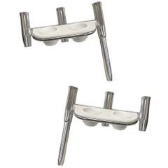 Offset Triple Rod Holder w\/Cup Holders - Port Side  Starboard Side - Polished Aluminum [88148PS-KIT]