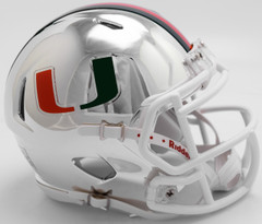 Miami Hurricanes Helmet Riddell Replica Mini Speed Style Chrome Alternate