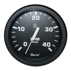 "Faria Heavy-Duty Black 4"" Tachometer (4000 RPM) (Mag Pick-Up) (Diesel) [43002]"