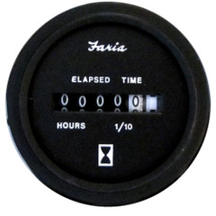 "Faria Heavy-Duty 2"" Hourmeter (10,000 Hours) (12-32 VDC) - Black *Bulk Case of 24* [MH0042B]"