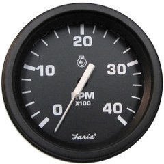 "Faria 4"" Heavy-Duty Tachometer (4000 RPM) (Diesel) Mag Pick-Up - Black w/Black Bezel [43000]"