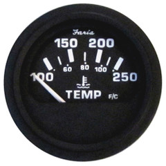 "Faria 2"" Heavy-Duty Water Temperature Gauge (100-250F) - Black *Bulk Case of 24* [GP0633B]"
