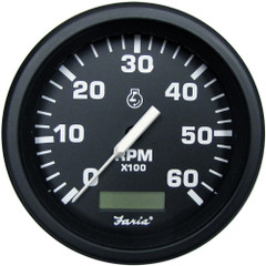 "Faria 4"" Heavy-Duty Tachometer w/Hourmeter (6000 RPM) Gas - Black *Bulk Case of 12* [TC9133B]"