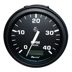 "Faria 4"" Heavy-Duty Tachometer w/Hourmeter (4000 RPM) Diesel (Mech Takeoff  Var Ratio Alt) - Black *Bulk Case of 12* [TD9137B]"