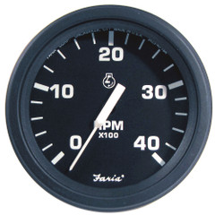 "Faria 4"" Heavy-Duty Tachometer (4000 RPM) Diesel (Mech Takeoff  Var Ratio Alt) - Black *Bulk Case of 12* [TD9324B]"
