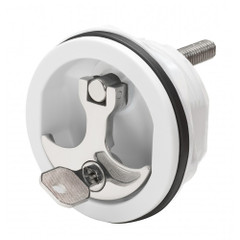 Whitecap Compression Handle CP Zinc\/White Nylon Locking - 1\/4 Turn [S-9415WC]