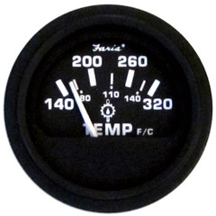 "Faria 2"" Heavy-Duty Oil/Temp Gauge (140-320 F/C) - Black *Bulk Case of 24* [GP0629B]"