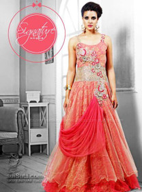 Amazing Peach Net Gown2822