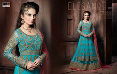 Blue color Full Sleeve Floor Length Net Fabric Indowestern style Suit