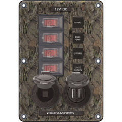 Blue Sea 4324 Circuit Breaker Switch Panel 4 Postion - Camo w\/12V Socket  Dual USB [4324]