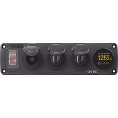 Blue Sea 4368 Water Resistant USB Accessory Panel - 12V Socket, 2x 2.1A Dual USB Chargers, Mini Voltmeter [4368]